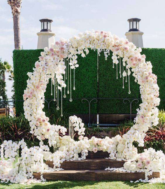 Elegantly unique white flower wedding ceremony chuppah; Featured Event Design: Blush Botanicals