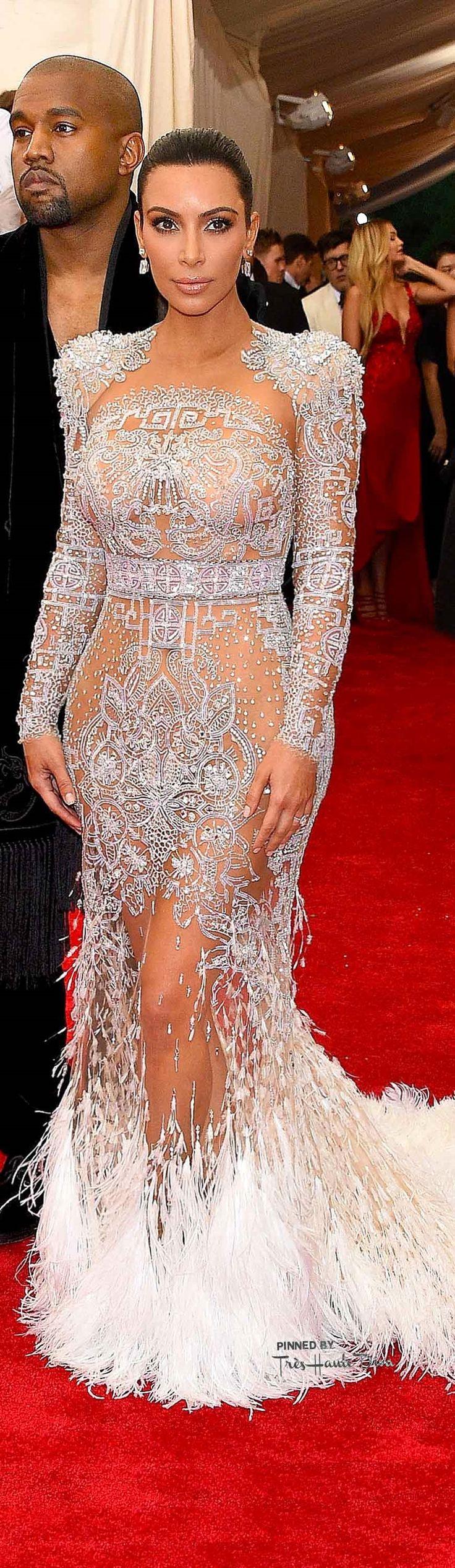 Kim Kardashian and Kanye West wearing Roberto Cavalli at the 2015 Met Gala.
