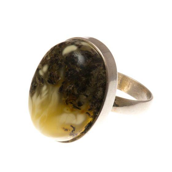 Ezüst gyűrű borostyán kővel /74084/