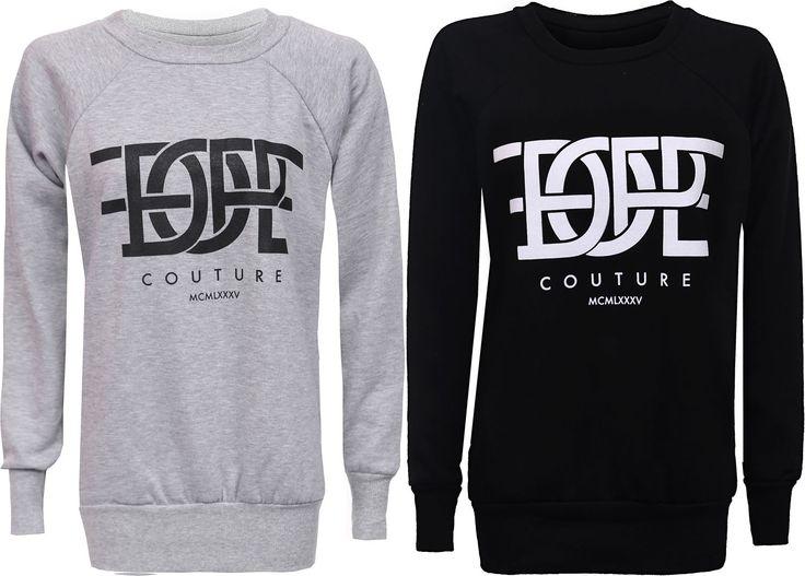 Womens Ladies Dope Couture Print Jumper Pullover Sweatshirt Top T-Shirt Uk 8-14