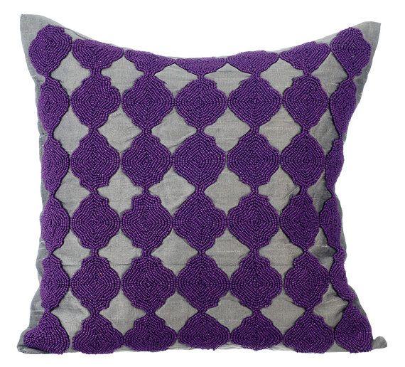 Curiosity - 16 x 16 Purple Bead Embroidered Grey Silk Pillow.
