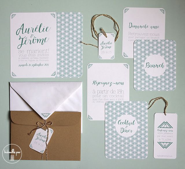 Bidouillé par lili -  Faire-part Kraft & vert - Papeterie, mariage, retro