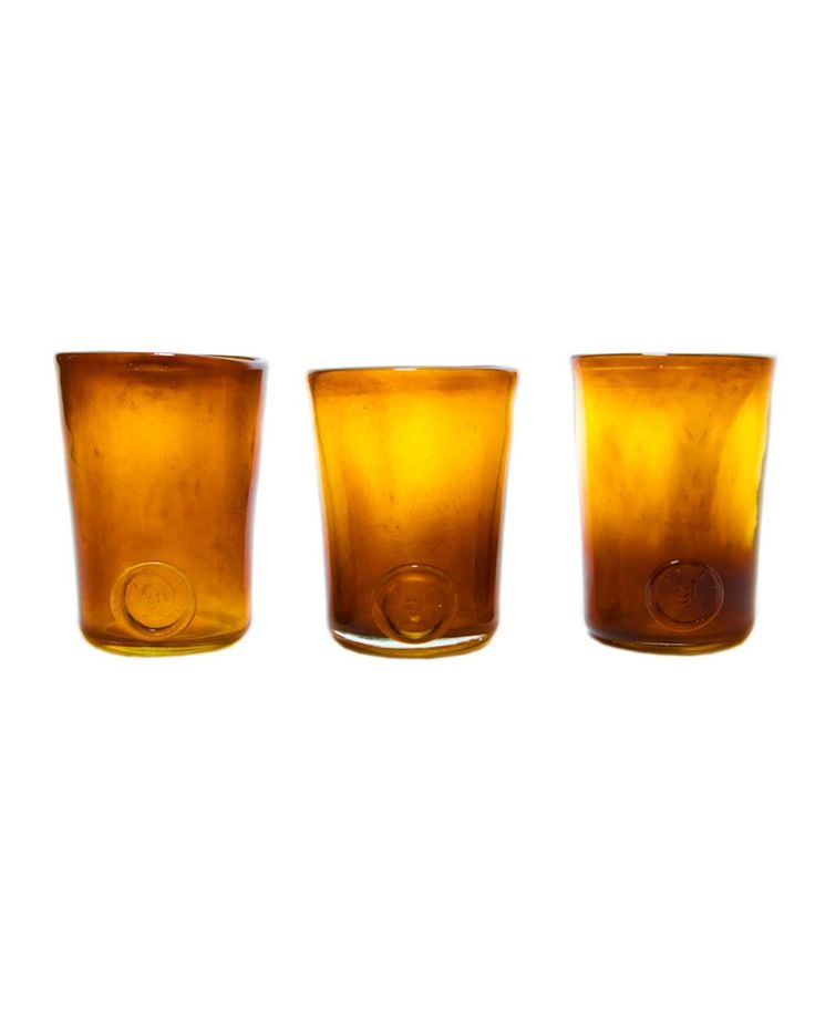 Three glasses set-honey yellow Crafted by hand, this stunning glasses set feature a classic design and colored finish that may vary slightly between products. Perfect for serving individual desserts at dinner parties or drinks in the garden.