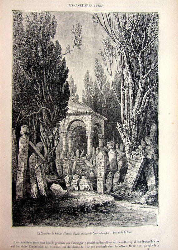 Rare strange antique Turkish cemeteries by LyraNebulaPrints, $22.00