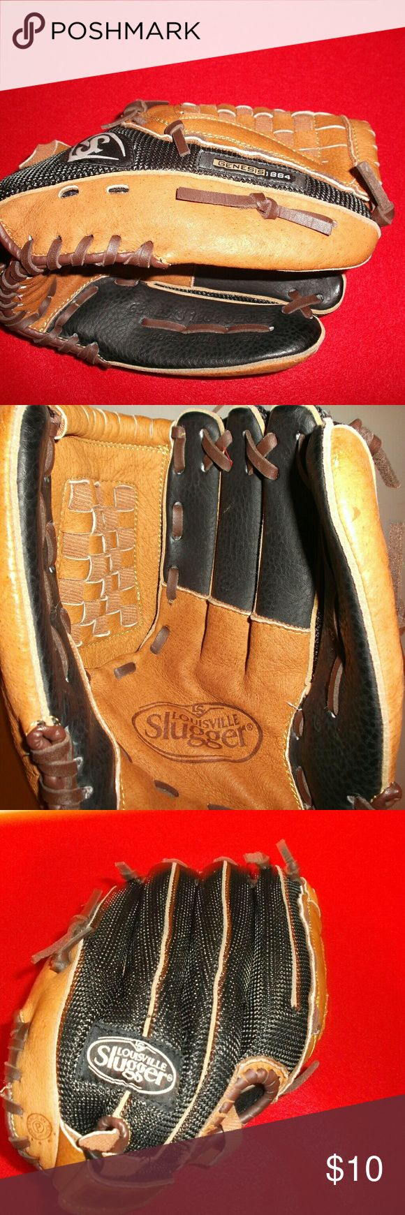 """Louisville Slugger Youth Baseball Glove Louisville Slugger Youth Baseball Glove.   Worn on the left hand for right handed throwers   The model is Genesis 1884   Feels like a leather material with nylon on the top   Excellent condition!   Estimated at a 9.5 """" glove.   It doesn't say and I might not be measuring in the official place. Louisville Slugger Other"""