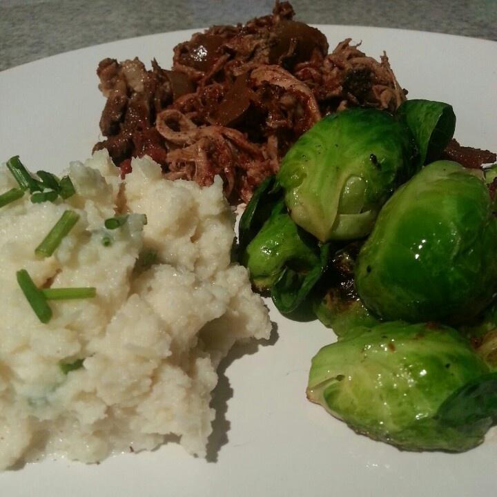 Pulled Pork, Garlic Mashed Cauliflower & Garlic/Bacon Brussels Sprouts.