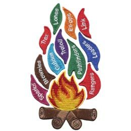 Flames, Guiding, Sparks, Brownies, Pathfinders, Trefoil, Set, Patch, Embroidered Patch, Merit Badge, Badge, Emblem, Iron On, Iron-On, Crest, Lapel Pin, Insignia, Girl Scouts, Boy Scouts, Girl Guides