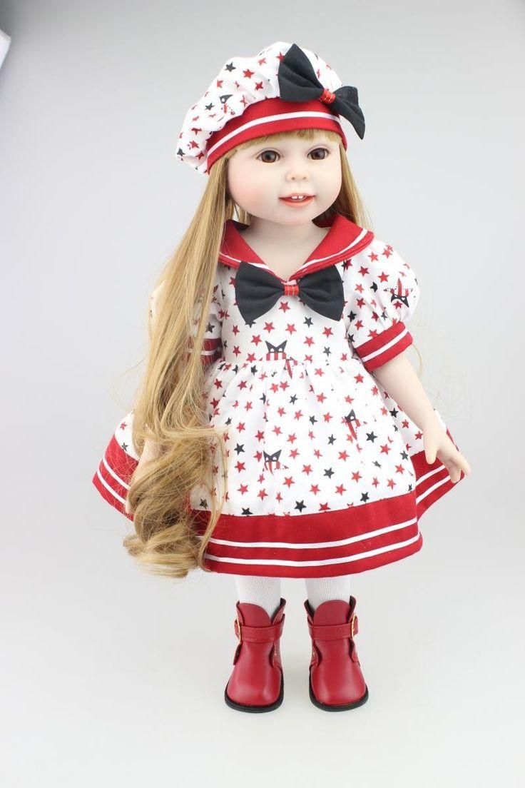 """2016 НОВЫЙ 25 Модели 18 """"блондин/Коричневый Волос 45 см Девушка Куклы Реалистичные Детские Игрушки Подарок На День Рождения для Девочек, American Girl Куклы купить на AliExpress"""