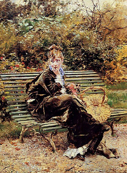 Женщина, сидящая в саду. Джованни Больдини