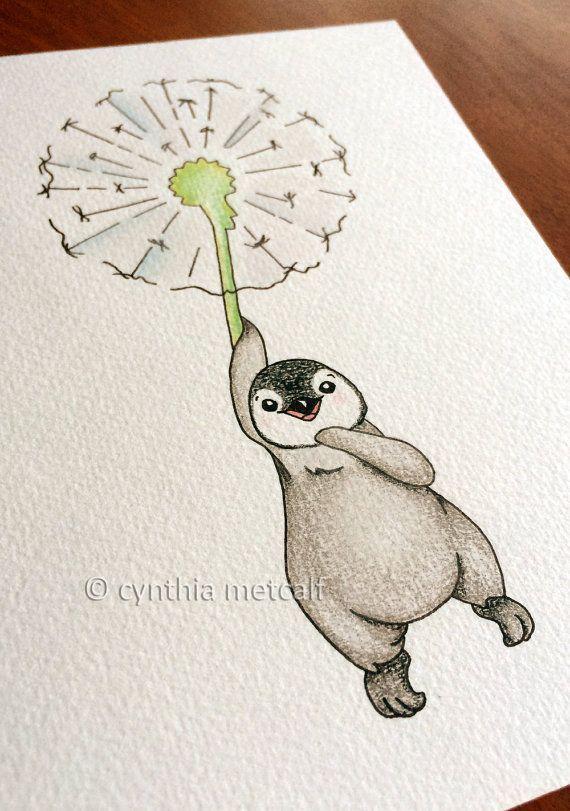 Pinguin-Löwenzahn-Kinderzimmer-Kunst Ursprüngliche Zeichnung von DandelionTickles