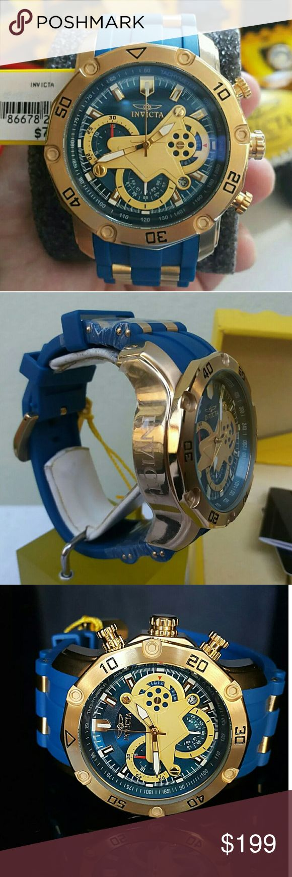 Weekend sale,new Invicta watch (REASONABLE OFFER) INVICTA PRO DIVER SCUBA 3.0 BLUE/YELLOW 50MM CHRONOGRAPH BLUE POLYURETHANE WATCH     Firm price firm price firm price firm price    $283.00  . AUTHENTIC WATCH   . AUTHENTIC BOX   . AUTHENTIC MANUAL     SHIPPING   PLEASE ALLOW FEW BUSINESS DAYS FOR ME TO SHIPPED IT OFF.I HAVE TO GET IT FROM MY STORE.     THANK YOU FOR YOUR UNDERSTANDING. Invicta Accessories Watches