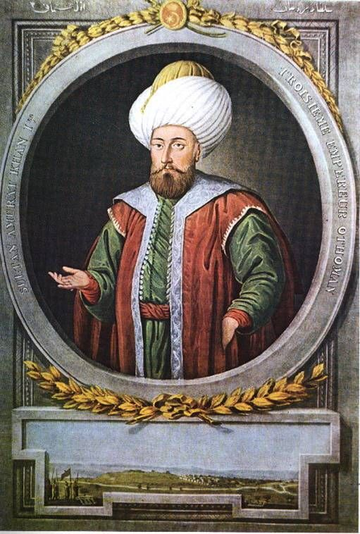 Murad I, was the Sultan of the Ottoman Empire, from 1362 to 1389. He was the son of Orhan.Murad fought against the powerful emirate of Karaman in Anatolia and against the Serbs, Bulgarians and Hungarians in Europe.