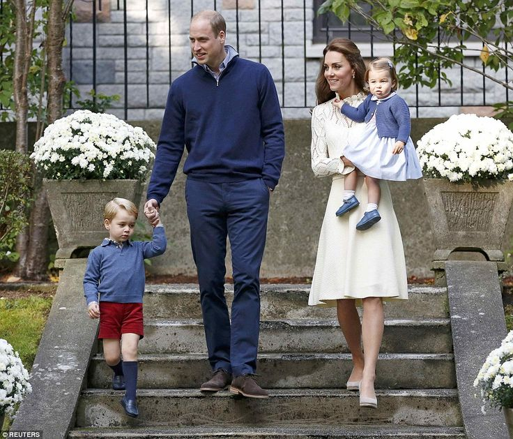 The Duke and Duchess of Cambridge arrive with their children Prince George and Princess Charlotte at the party