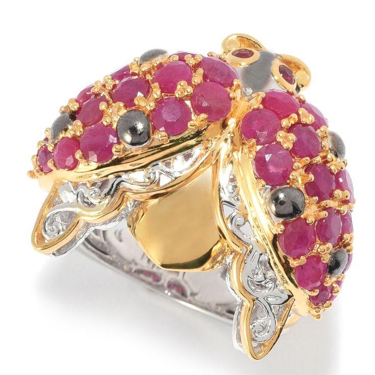162-624 - Gems en Vogue 3.76ctw Mozambique Ruby Cluster Ladybug Ring