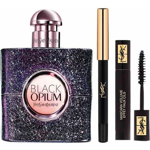YVES SAINT LAURENT Black Opium Nuit Blanche eau de parfum and makeup... (370 RON) ❤ liked on Polyvore featuring beauty products, gift sets & kits, makeup, eau de perfume and yves saint laurent