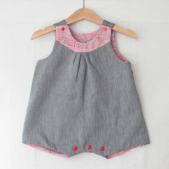 Reversible baby girl romper in red prints retro by MangeToutBaby