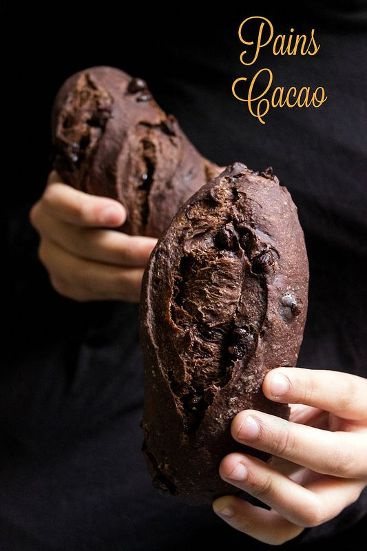 Cocoa Breads w/ Chocolate Chips / Pains au cacao et chocolat