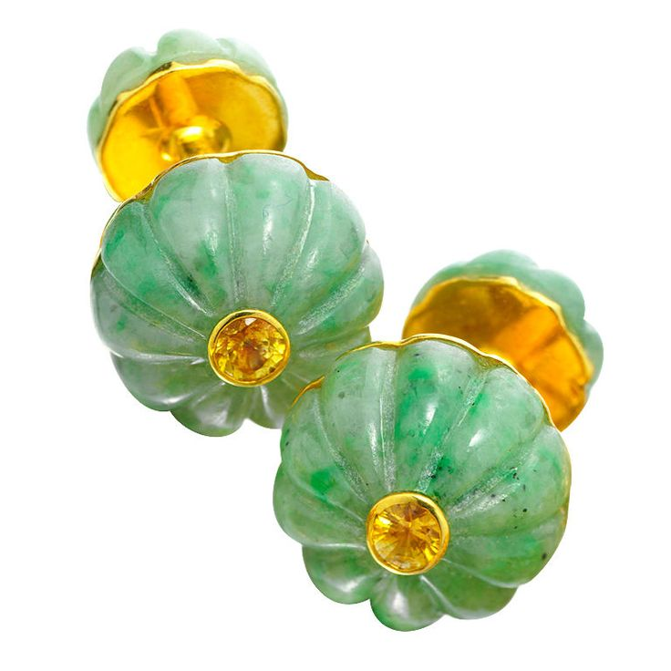 CARTIER Jade and Yellow Sapphire Cufflinks