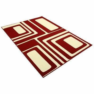 tapis salon retro moderne carrs rouge blanc universol taille 160x225cmvoir la prsentation