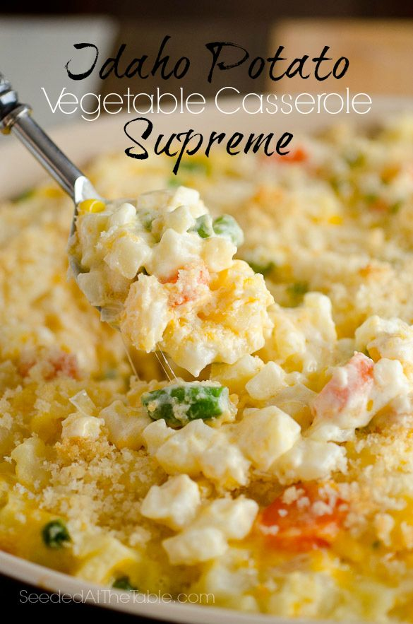 Idaho Potato Vegetable Casserole Supreme Recipe ~ It's creamy, cheesy, flavorful and feeds a BUNCH of people.