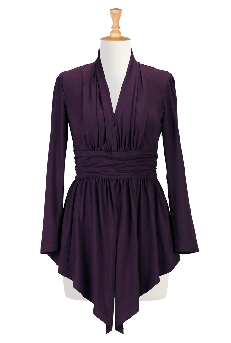 Pleated cotton knit tunic  STYLE # CL0025326 (also in red, teal, cobalt, dark blue)