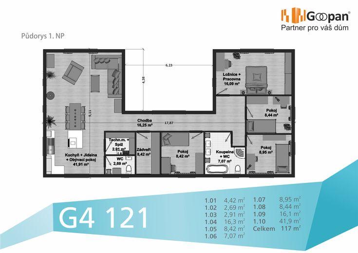 Netradiční přízemní dům s dispozičním řešením 5+kk si jistě najde mnohé příznivce. V domě se nachází vstupní hala, ze které vstoupíte do obývacího pokoje, jehož součástí je jídelna a kuchyň, do ložnice, dvou prostorných pokojů, pracovny, prostorné koupelny s WC a také do samostatného WC. Tento dům můžete vlastnit již od 8071,- Kč. Více informací na http://www.goopan-building.cz/g4-121/