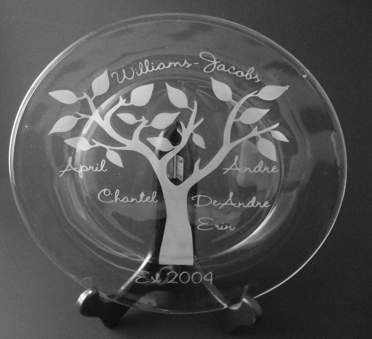 Our Family Tree Engraved Glass Plate. $30.00, via Etsy.