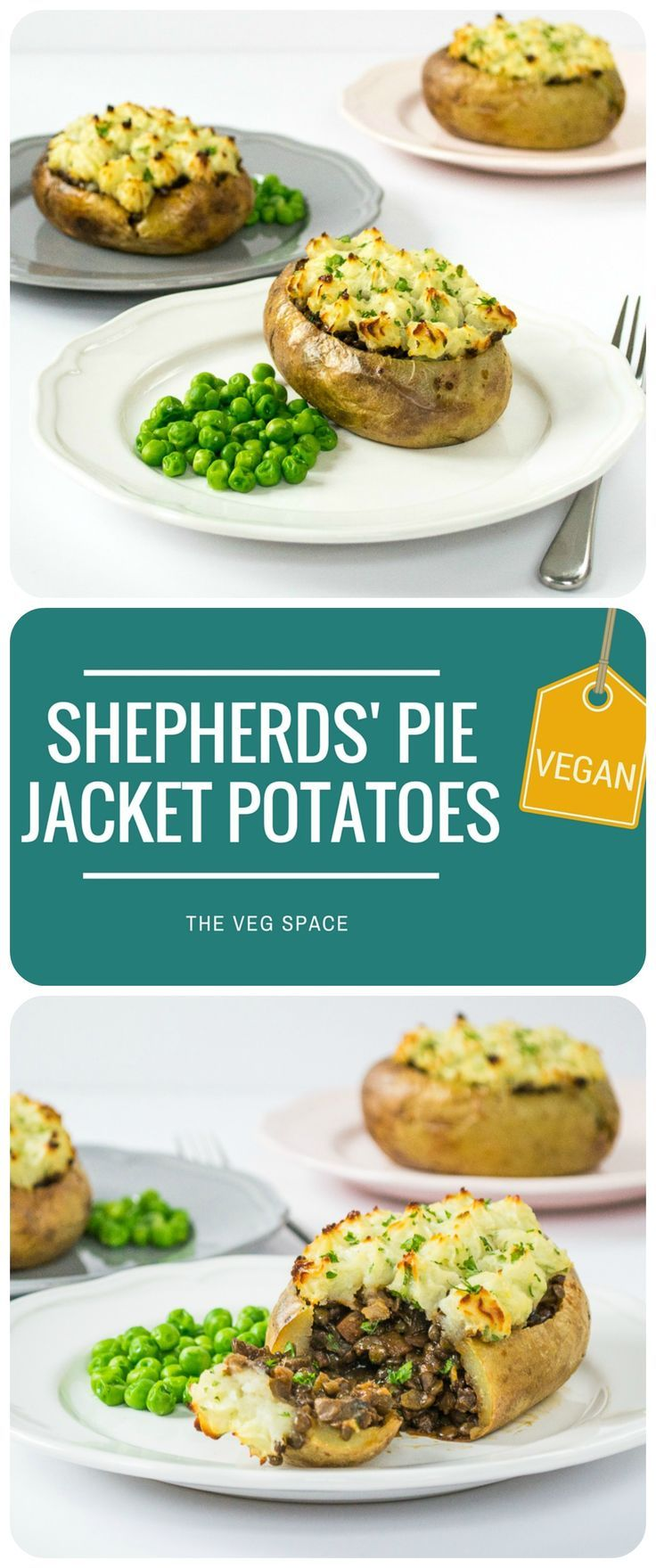 These Veggie Shepherds' Pie Jacket Potatoes are a vegetarian & vegan twist on the great British classic.  With a red wine, puy lentil & mushrooms gravy filling, and light and fluffy mash piped on top.