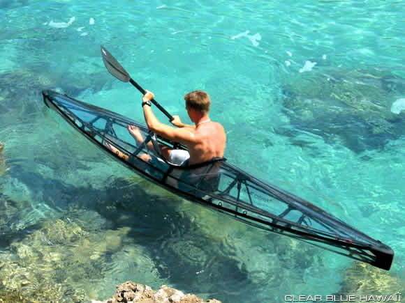 Transparent foldable kayak! Fits into a hiking backpack, only 26 lbs.
