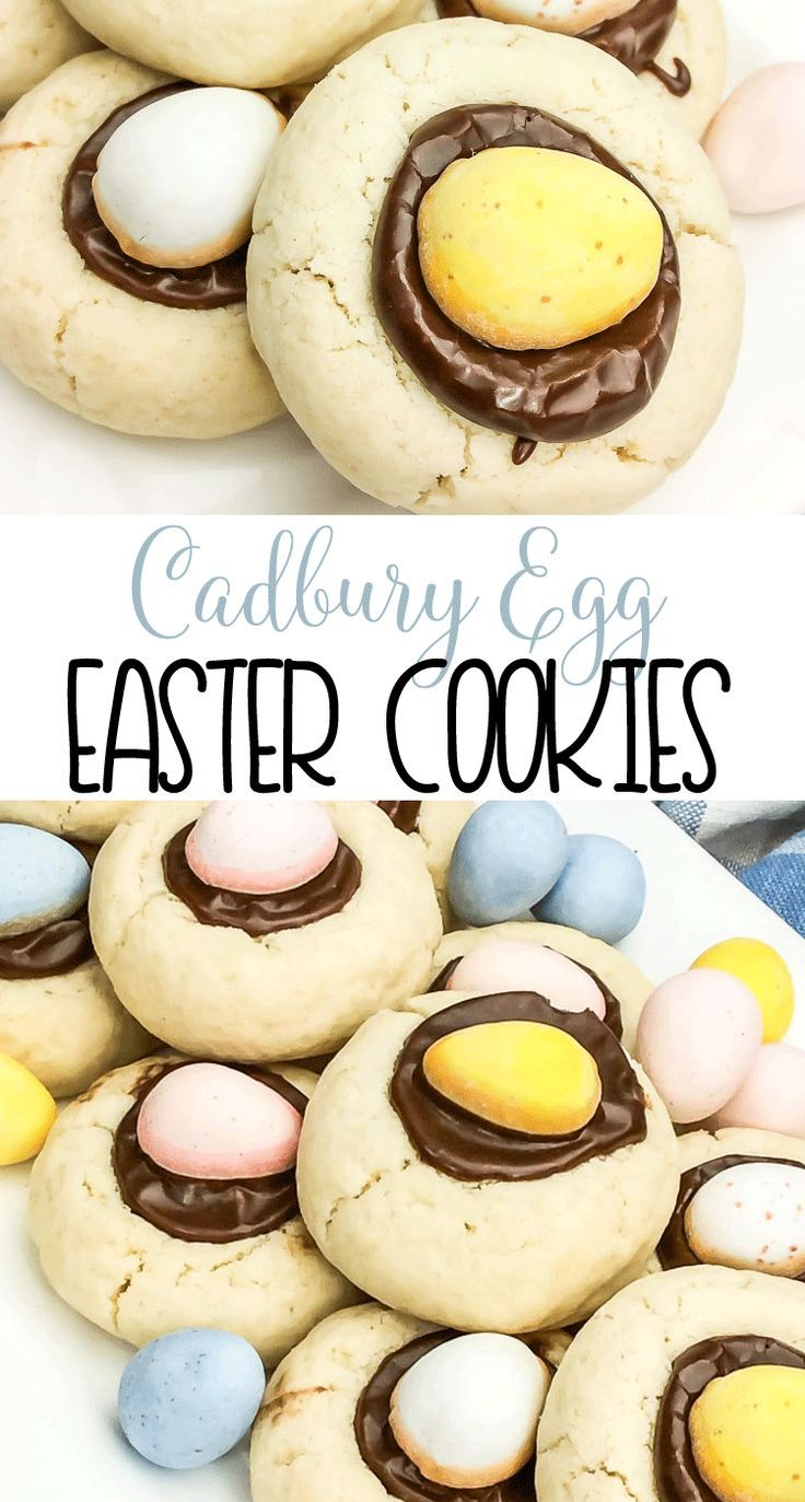 Cadbury Egg Easter Cookies | Spring Cookie Recipe | A delicious sugar cookie filled with chocolate and a Cadbury Egg via @domesticallyspeaking