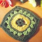 Crochet Square with Sunflower