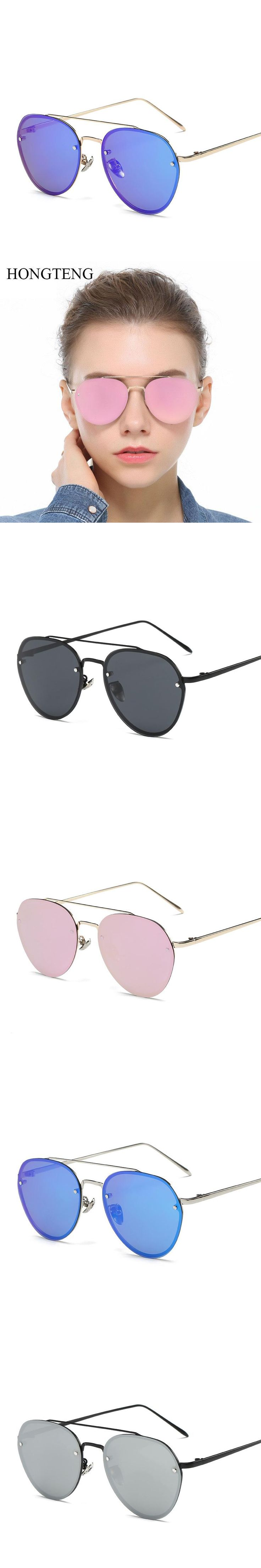 HONGTENG Tech Semi Rimless Aviator Women Sunglasses Silver Mirrored Clear Visibility Polarized Lens Men's Cool Driving Glasses