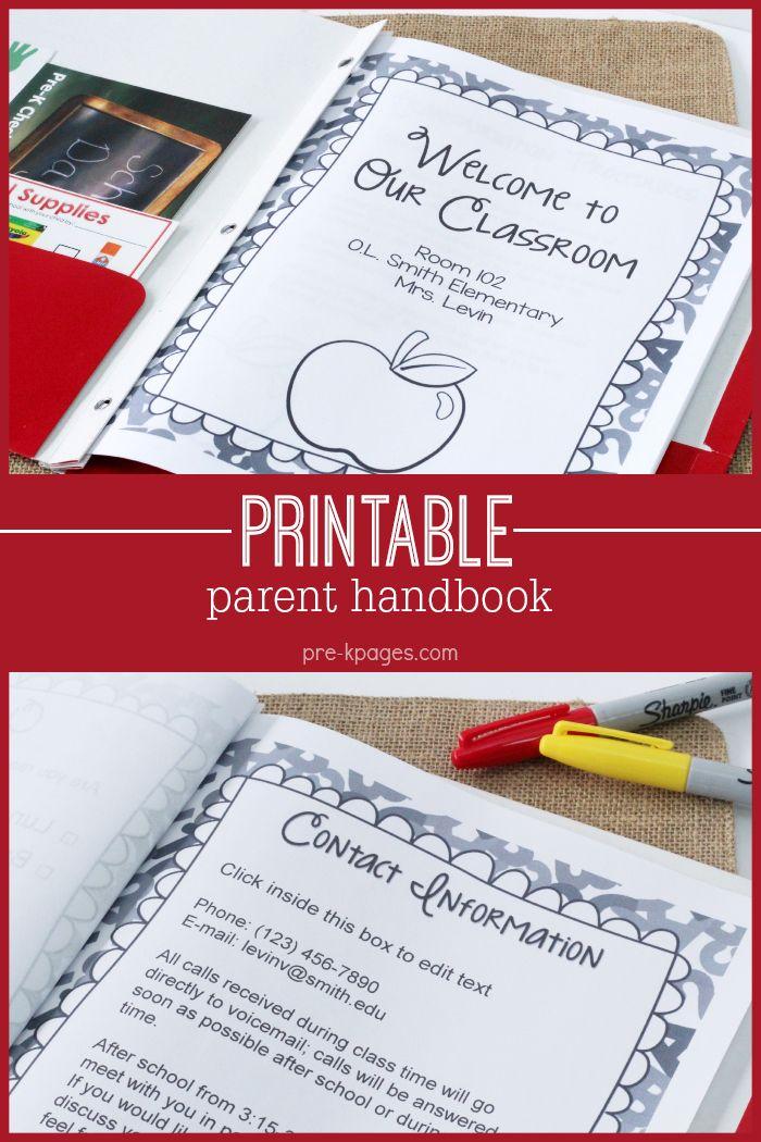 Printable Parent Handbook for Preschool and Kindergarten