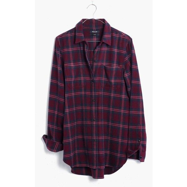 MADEWELL Flannel Classic Ex-Boyfriend Shirt in Jensen Plaid ($82) ❤ liked on Polyvore featuring tops, cabernet, purple button down shirt, tartan flannel shirt, plaid button up shirts, plaid flannel shirt and boyfriend shirt