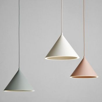 Woud's minimalist Annular pendant light features a classic cone-shaped shade and an unexpected source of illumination: the lower perimeter of the cone forms a beautiful ring of light. The pendant, designed by M-S-D-S, is made of spun aluminium and comes in soft pastel shades.