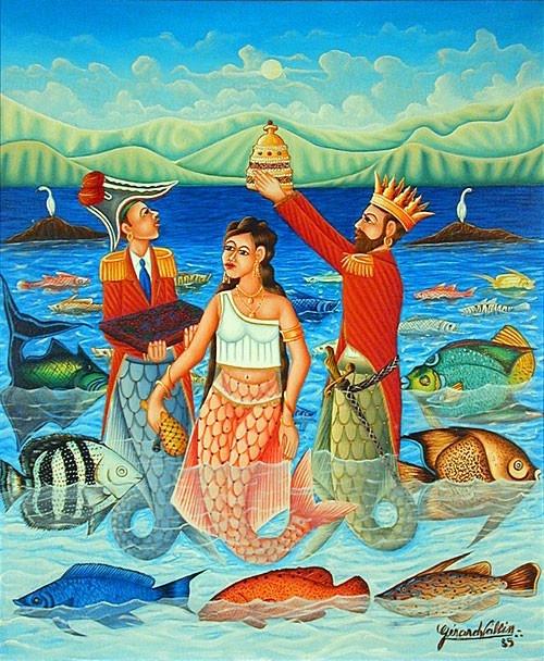 Haitian art: the wedding of Met Agwe Tawoyo and Lasiren.