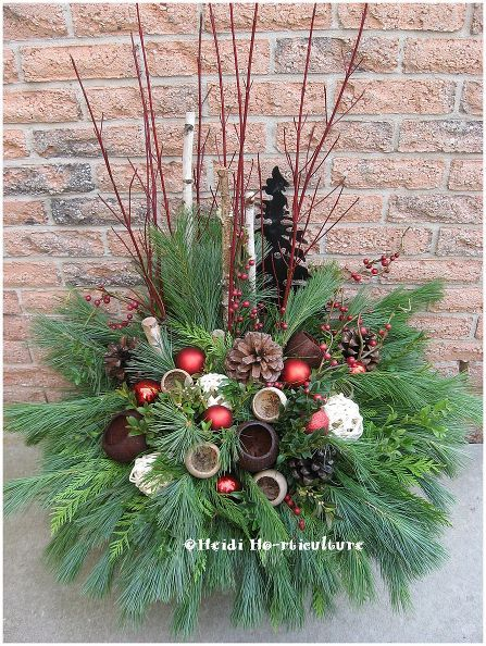 diy christmas winter planter design, christmas decorations, container gardening, gardening, seasonal holiday decor