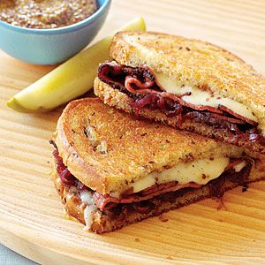 Pastrami, Swiss with Onion Marmalade. Make the marmalade ahead so you can whip these babies out in just a few minutes. Leftover marmalade is terrific on pork chops and roast beef. I also used sourdough instead. Yum.
