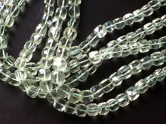 Green Amethyst Faceted Cube Beads Natural Green by gemsforjewels