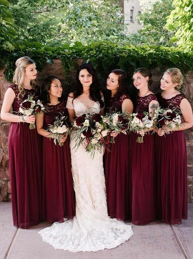 A Line Round Neck Dark Red Chiffon Bridesmaid Dress With Lace Burgundy Chiffon Bridesmaid Dresses Red Bridesmaid Dresses Burgundy Bridesmaid Dresses