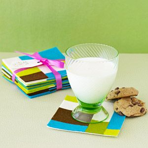 Cozy Coasters  Create these mod drink mats from adhesive-backed felt and package them in sets of six.