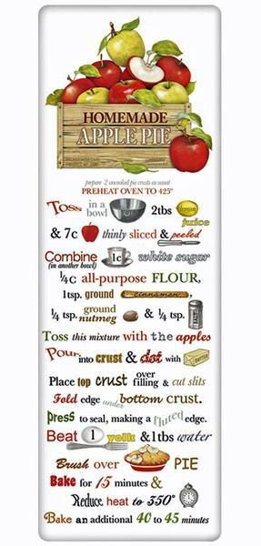 We treasure the recipe dish towel! Discover flour sack towels for every cook's decor and holidays. This one features an amazing recipe for Orchard Apple Pie.