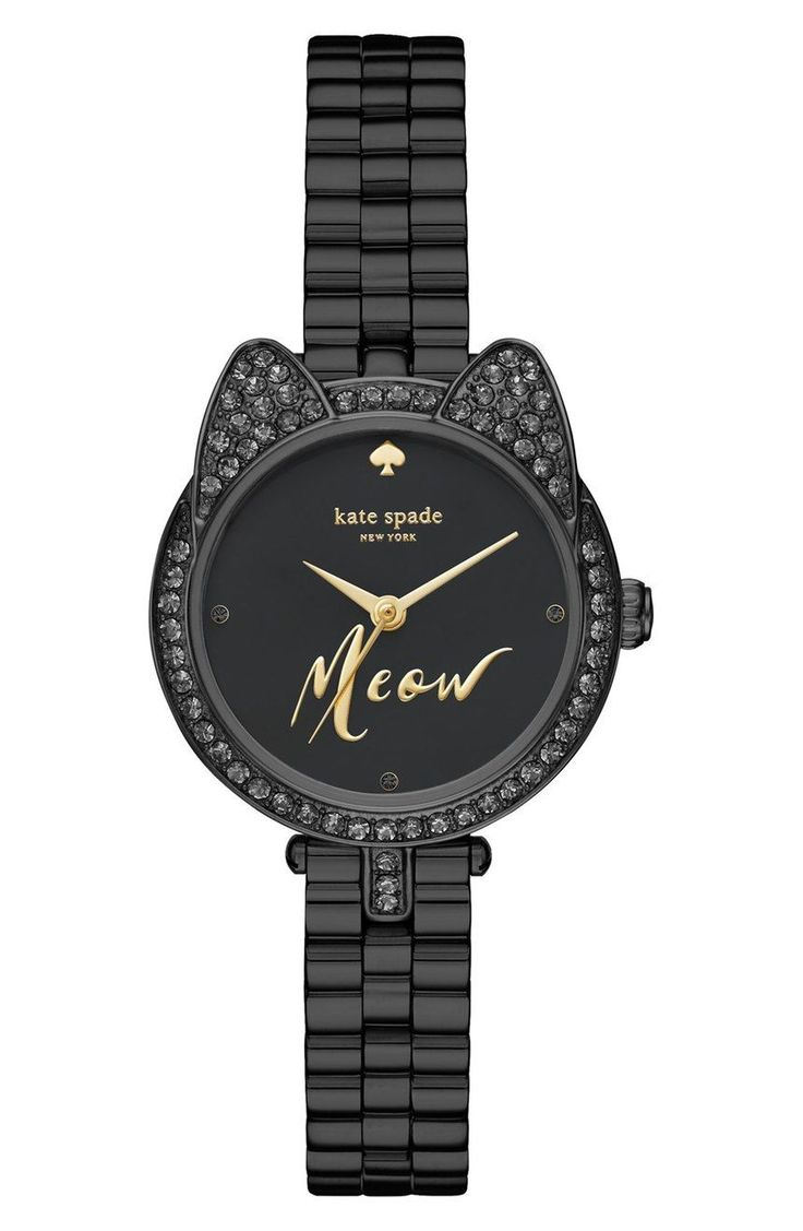 Glittering cat ears and a chic monochrome palette make this comfortable watch by Kate Spade standout by adding a playful touch to any ensemble.