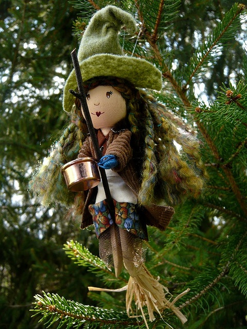 CUTE! Kitchen Witch Clothespin Doll   Provide good luck and ward off bad spirits  Mom and grandma had one :)
