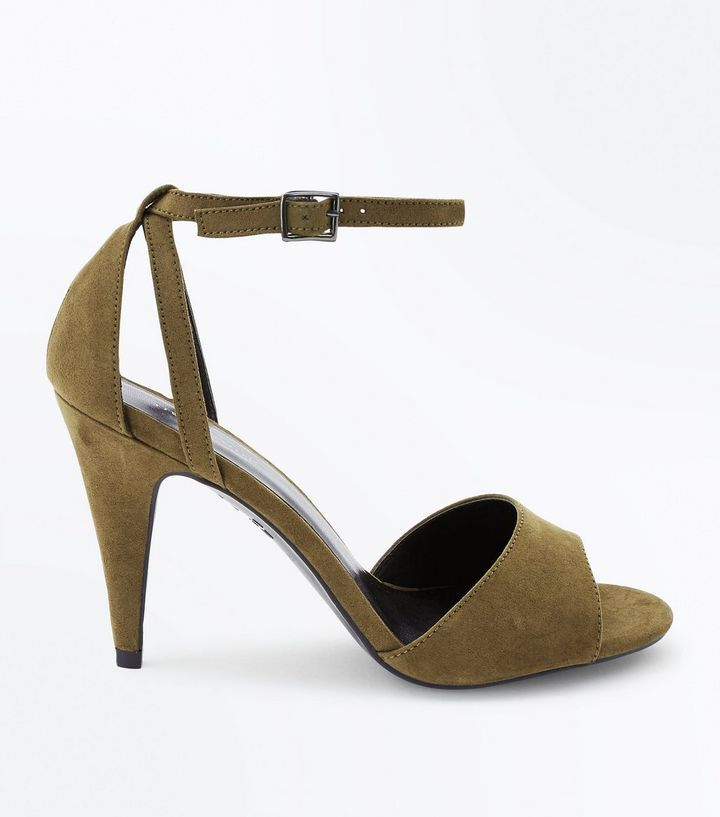 Z2018  Khaki Suedette Cut Out Cone Heeled Sandals | New Look