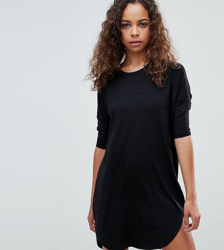 ASOS PETITE Oversize T-Shirt Dress with Seam Detail - Black