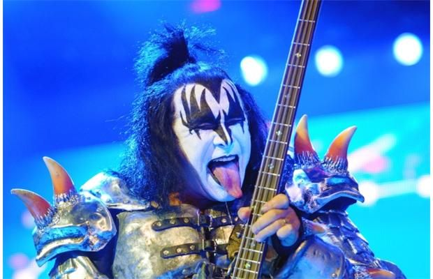 Bassist Gene Simmons as Kiss performs at Rexall Place in Edmonton, July 12, 2013.