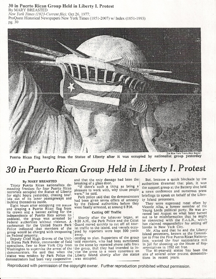 Statue of Liberty Takeover Puerto Rican Flag New York Times 1977