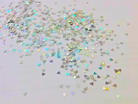 Holographic Silver Triangles glitter solvent by CanadianDestash, $2.50