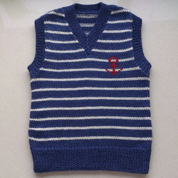 Knitted Boy's Nautical Vest Worldwide Delivery is by ZozzyZozzy, $50.00
